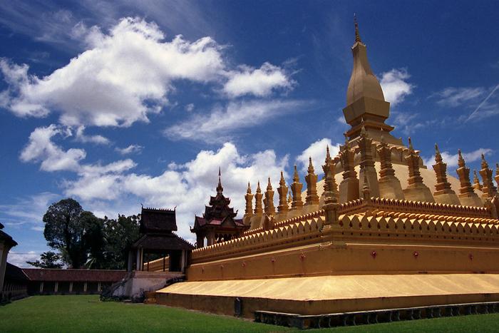 Shining Golden That Luang In Vientian (Laos)