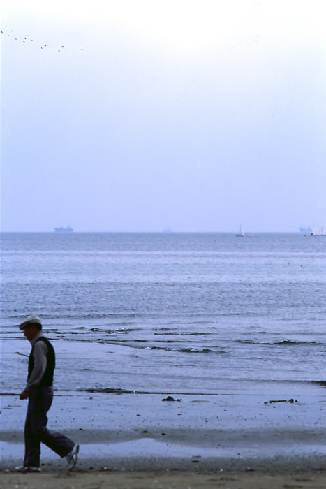 Old Man Walking On The Edge Of The Water (Chiba)