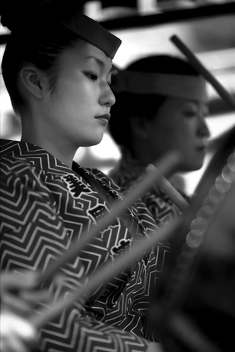 Young woman drumming