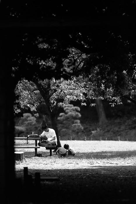 公園で寛ぐ親子連れ