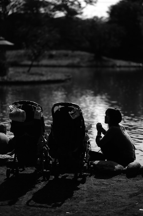 Silhouettes of mother and baby buggy