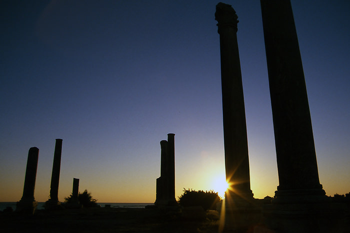 Pillars In Sunset In Al-Mina (Lebanon)