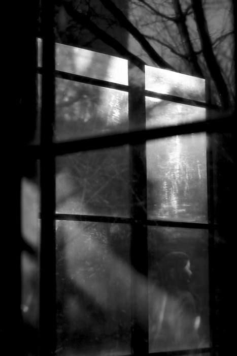 窓の向こうに見える人影