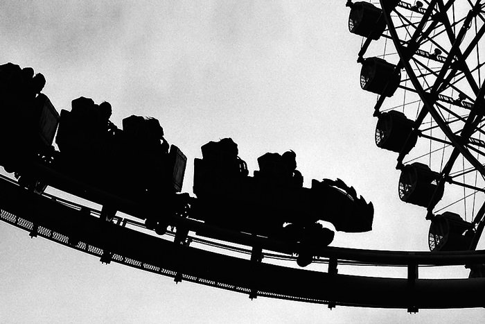 Silhouetted roller coaster