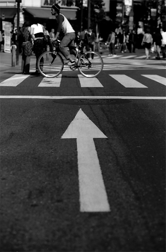 Bicycle In The Direction Of An Arrow @ Tokyo