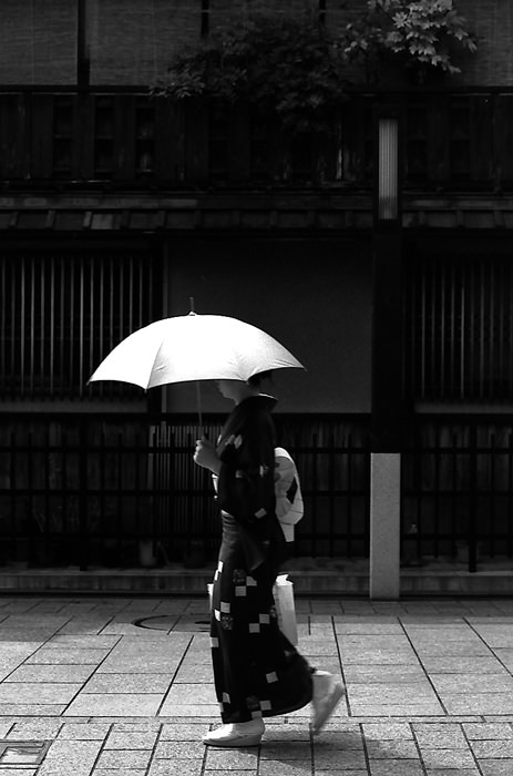Woman In Kimono Walking The Street (Kyoto)