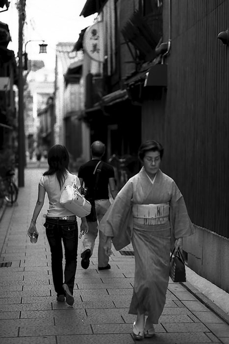 Woman In Japanese Dress In The Lane (Kyoto)