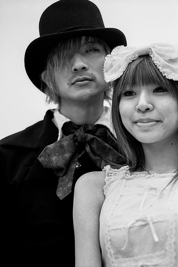 Young couple dressing up