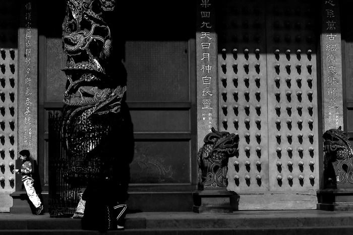 Boy in front of door