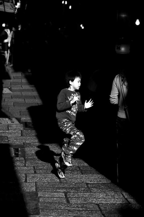 Boy hopping