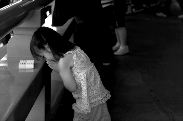 Girl Praying By The Guardrail @ Tokyo