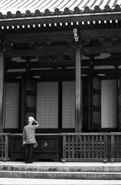 Man In Front Of The Main Hall Of The Temple @ Tokyo
