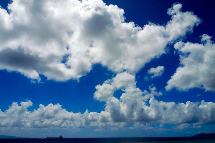 Tanker under clouds