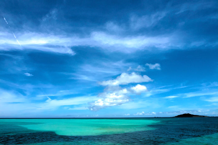 Blue Ocean And Isle Of Ogami (Okinawa)