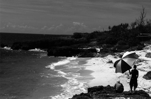A Two-tone Umbrella On The Beach @ Okinawa
