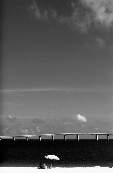 White Sand Beach, Umbrella And Bridge (Okinawa)