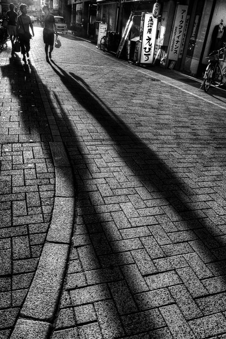 Long Shadows On The Stone-flagged Street (Okayama)