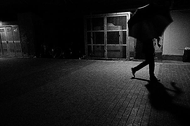Umbrella Walking The Dark Road At Night @ Tokyo