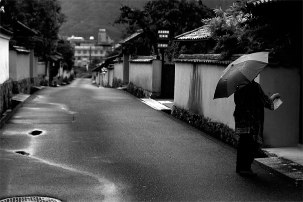 Umbrella In The Rainy Deserted Road (Okayama)