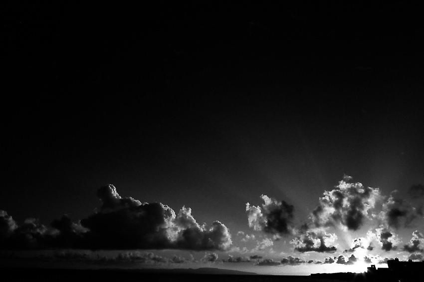 夕陽に照らされる雲