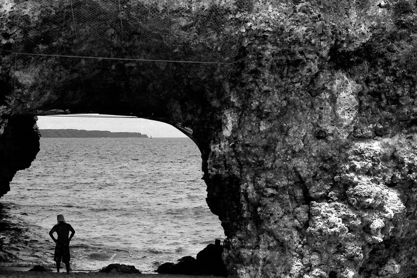 Hole in rock in Sunayama beach