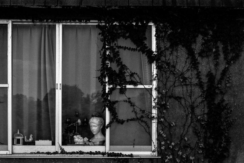 Female statue by window