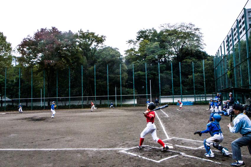 Boy hitting ball