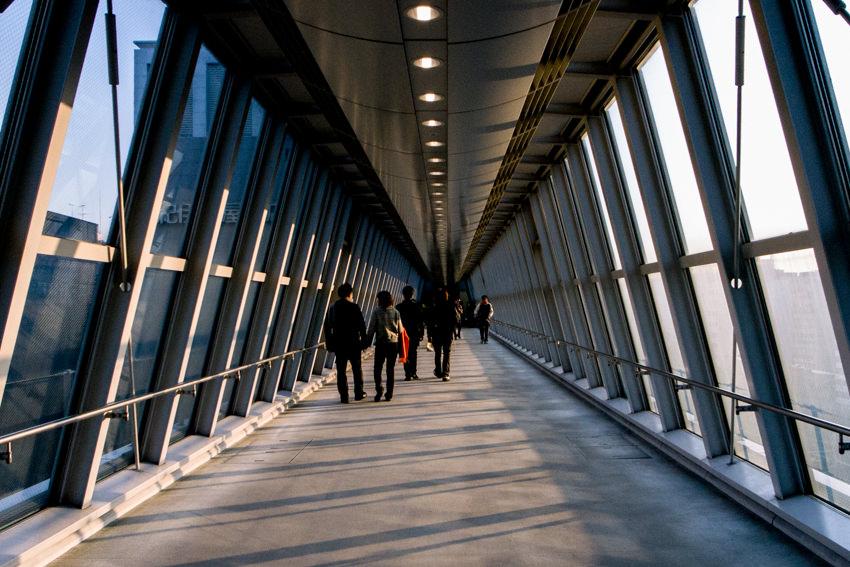 figures walking corridor