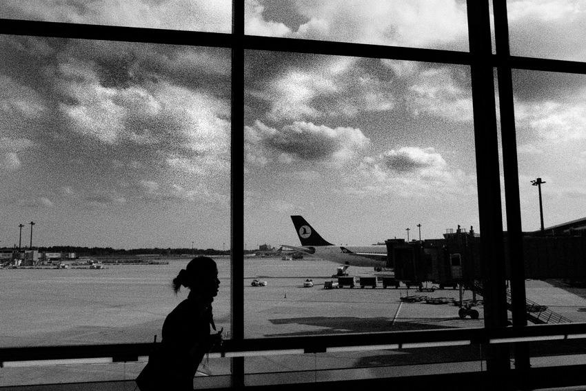 flight attendant scurrying