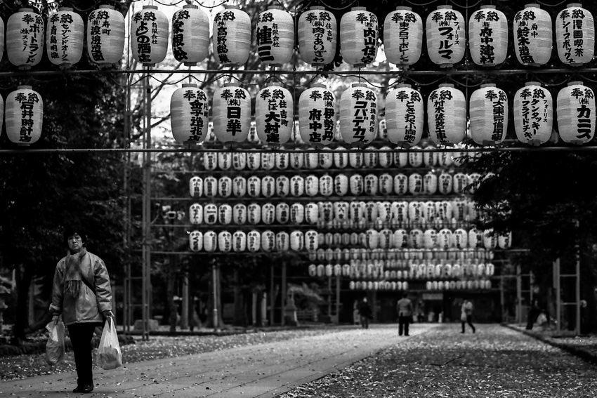Many lanterns in in Okunitama Jinja