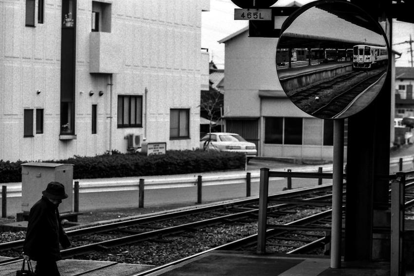train in round mirror