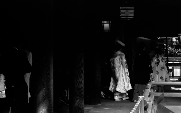 Bride Walking The Dark Cloister (Tokyo)
