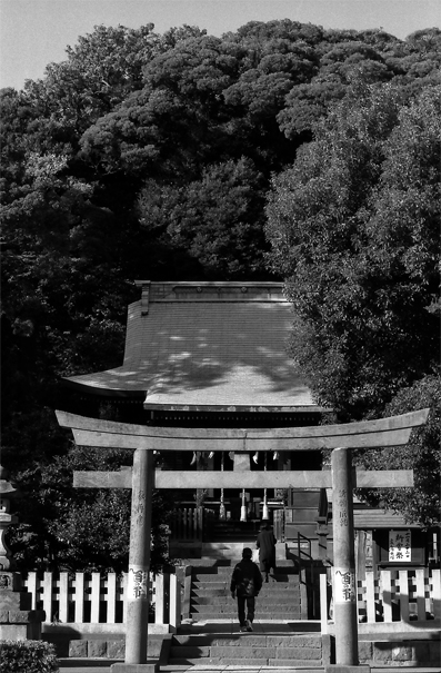 Figure passing through Torii