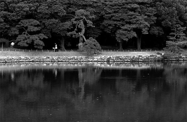 Figures Walking The Opposite Side Of The Pond (Tokyo)