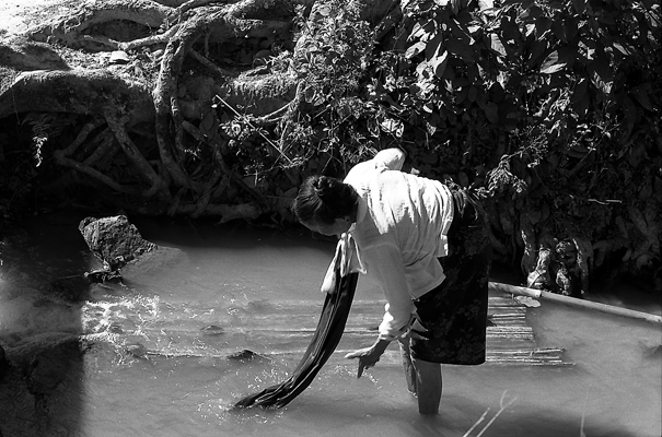Woman Washing Clothes In The Small Stream (Laos)