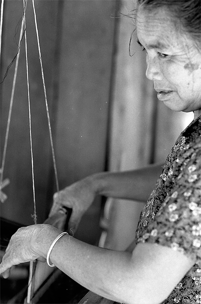 Female Weaver Was Working @ Laos