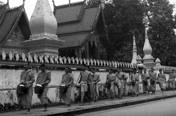 Line Of Monks For Morning Alms (Laos)