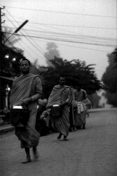 Monks Walking For The Morning Alms (Laos)