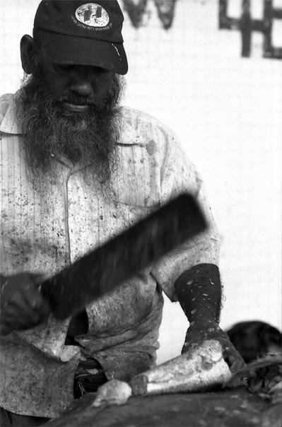 Bearded Man Was Cutting Tuna (Sri Lanka)