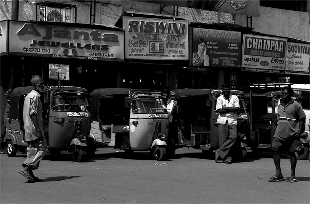 Three Wheelers And Man (Sri Lanka)
