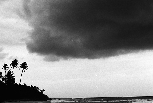 Dark clouds floating above sea