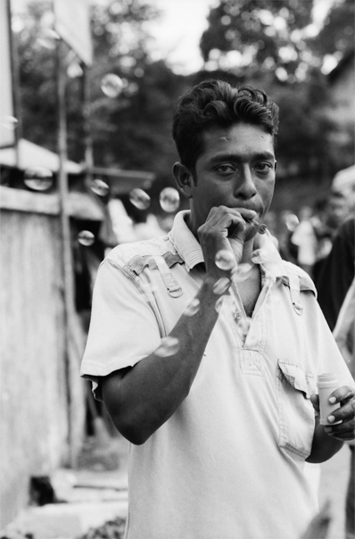 Man selling soap bubbles