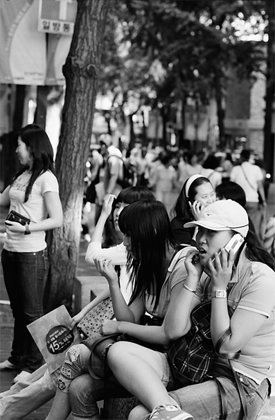 Young people hanging out in Insadong