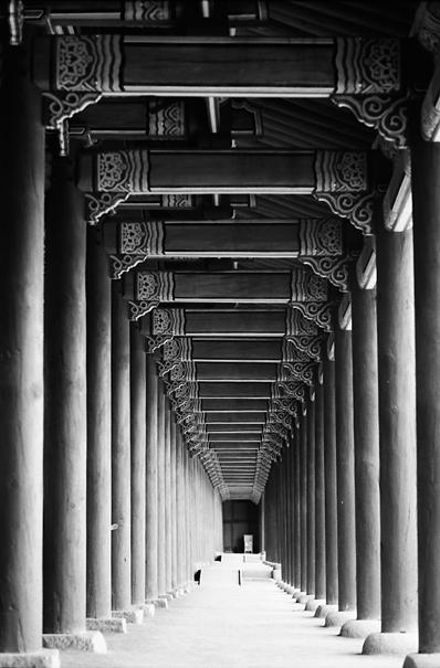 Array Of Pillars In Gyeongbokgung (South Korea)