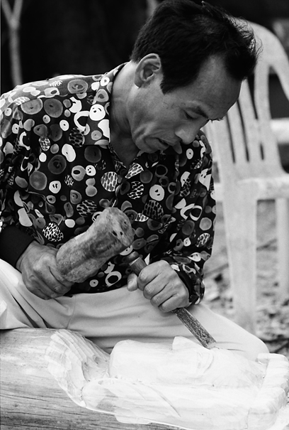 Man carving