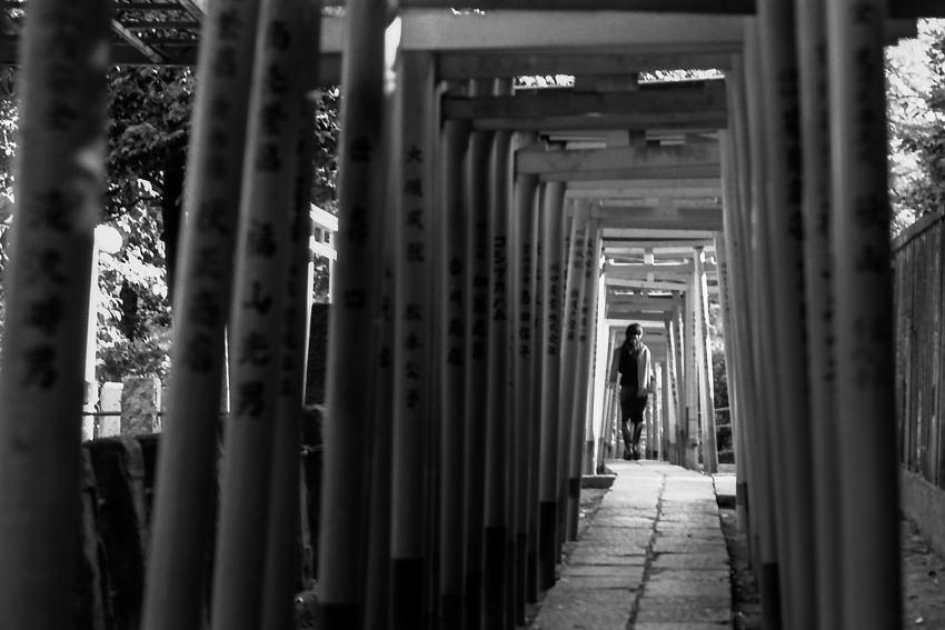 Woman walking through Torii