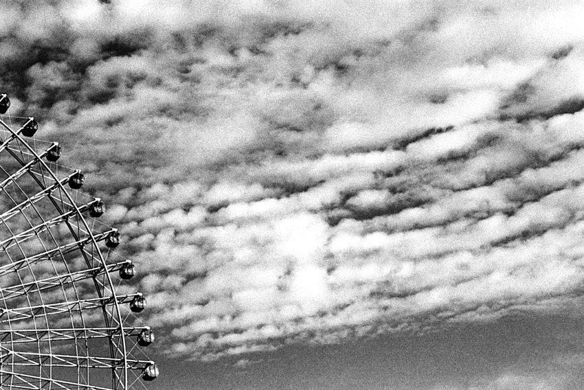 Ferris wheel under clouds