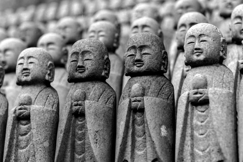 Jizo statue with drooping eyes