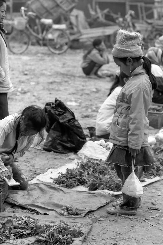 Little girl shopping in market