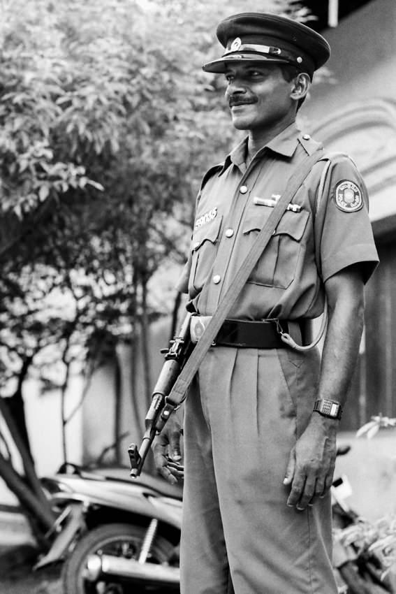 Policeman having a gun
